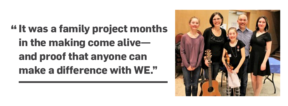 Left: Quote: It was a family project months in the making come alive—and proof that anyone can make a difference with WE. Right: The Gill family.