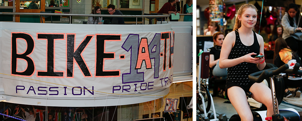 Left: A sign at the bike-a-thon. Right: A student on a stationary bike.