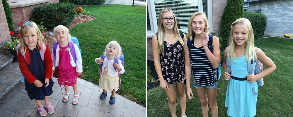 Then and now, Deb Lowther's three daughters
