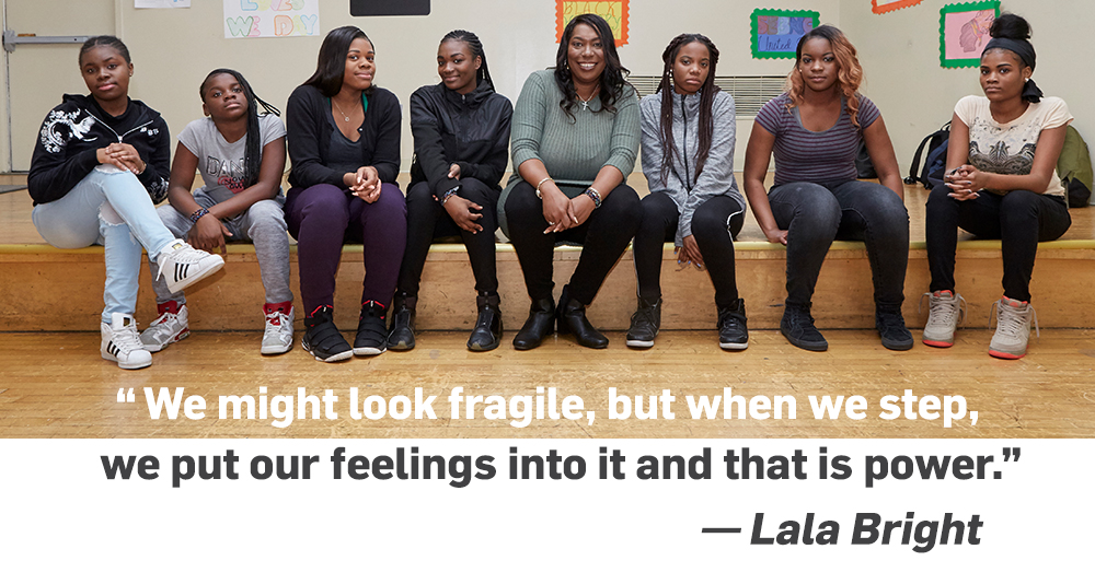 Quote. We might look fragile, but when we step, we put our feelings into it and that is power. Unquote. Lala Bright.