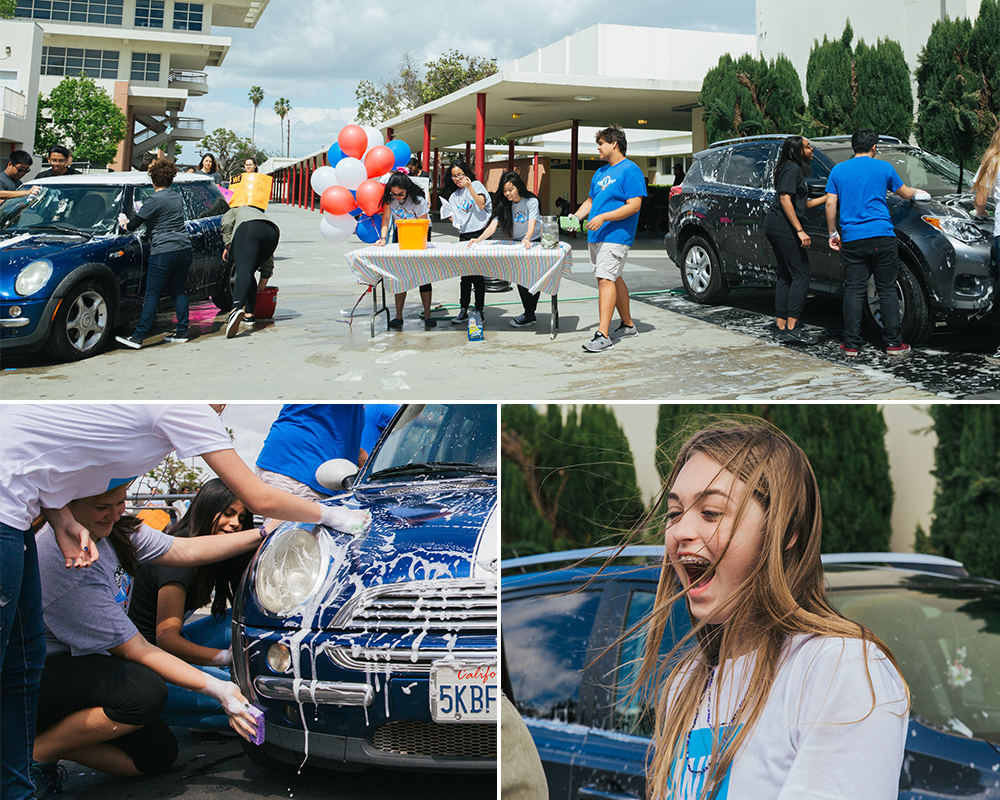 Students taking part in the car wash.