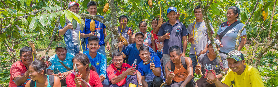 The farmers among the cacao trees at training at WE Charity's Agricultural Learning Center in Ecuador