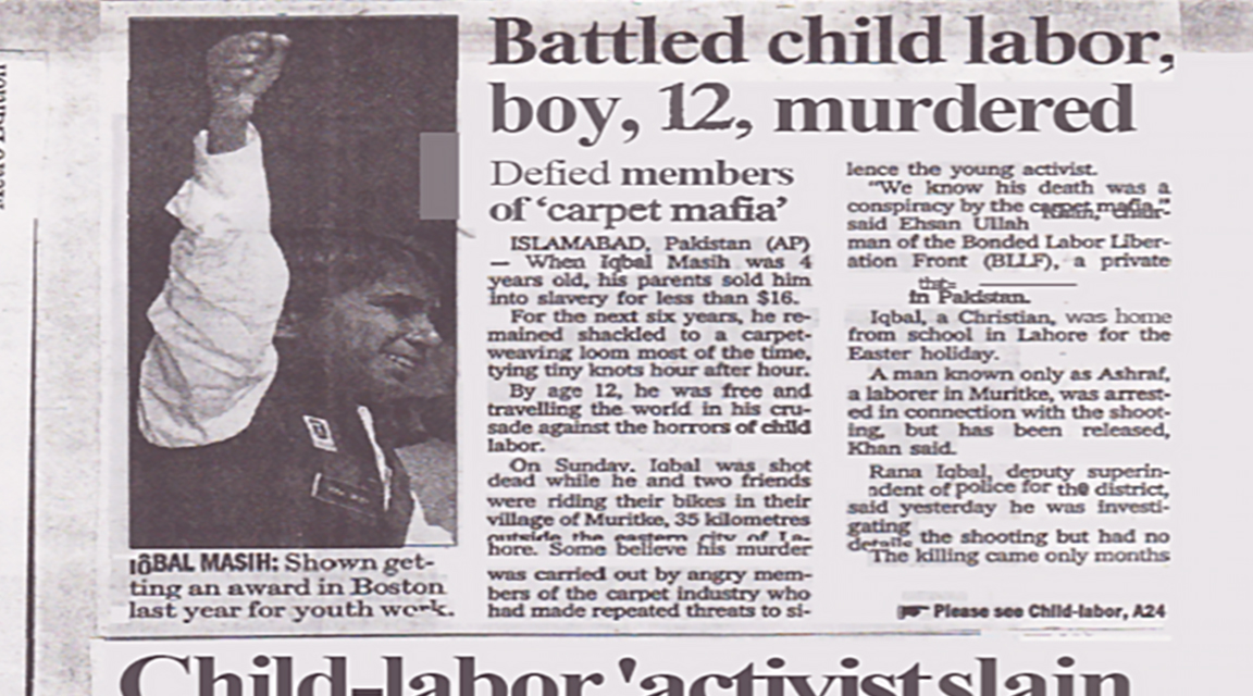 Newspaper article on murdered child laborer Iqbal Masih