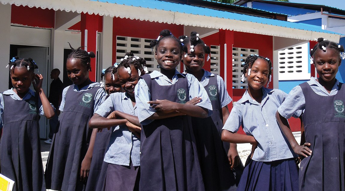 Excited girls during recess in Kenya