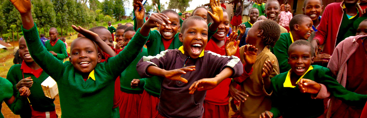 Young Kenyan students celebrating
