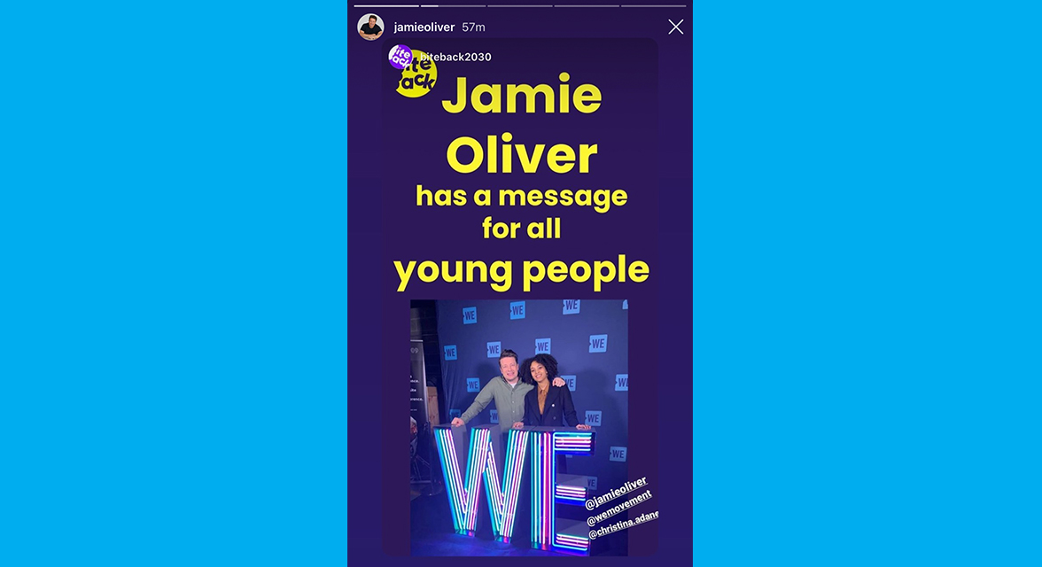 Jamie Oliver Instagram story post.