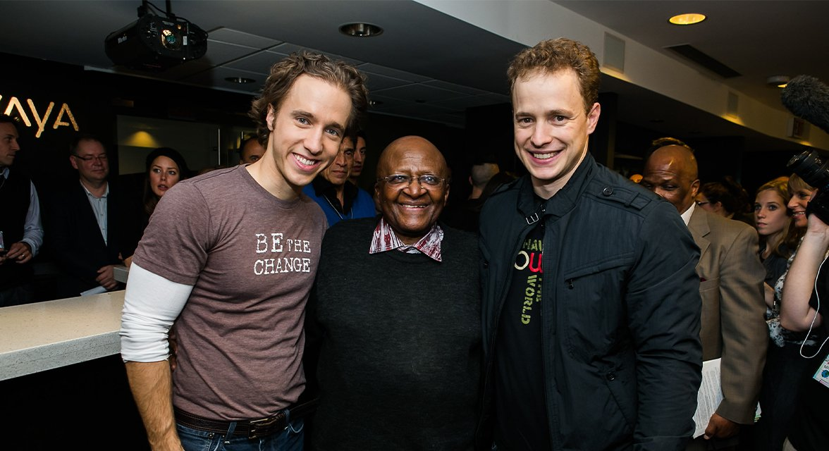 Craig and Marc Kielburger with honored guest
