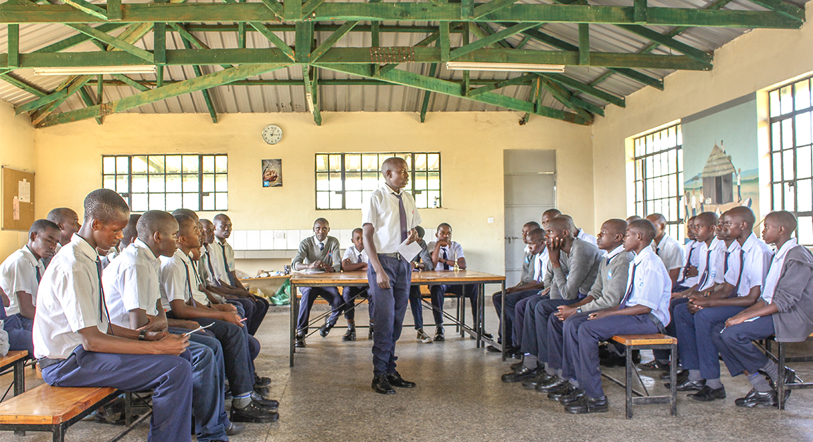 Classroom of male students in a WE Villages partner community
