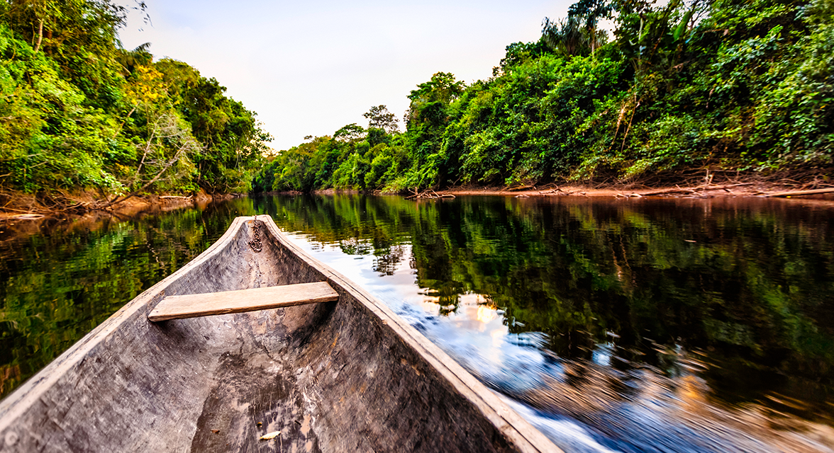 View of a river from a canoe in the middle of the Amazon surrounded by trees