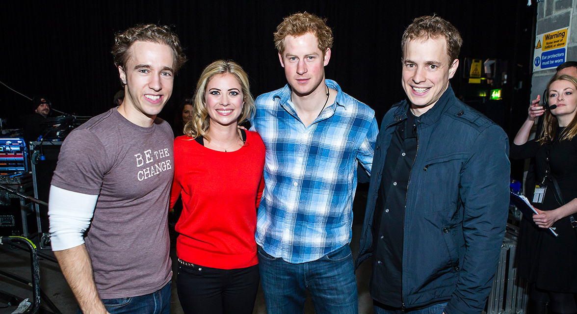 Craig and Marc Kielburger, Holly Branson and Prince Harry at WE Day event