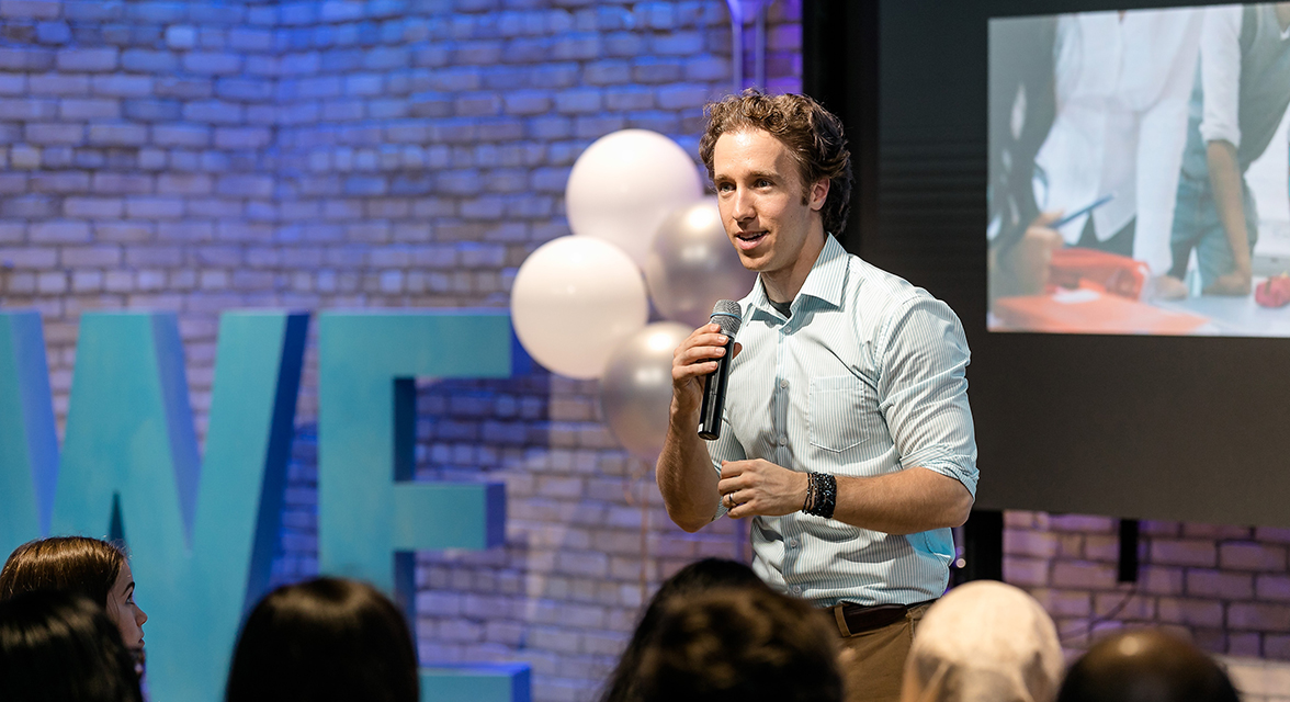 Craig Kielburger speaking at an event