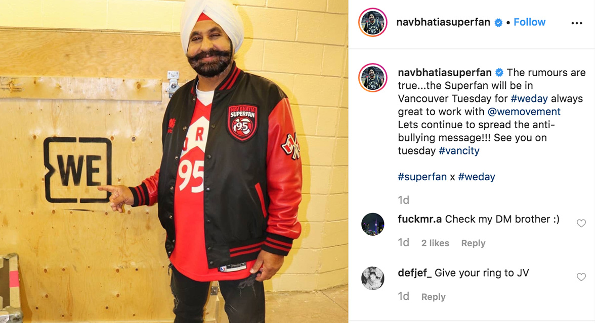 Nav Bhatia Instagram post