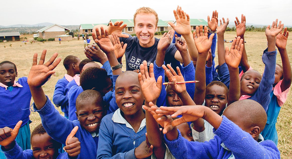 Craig Kielburger with a group of local students in Kenya