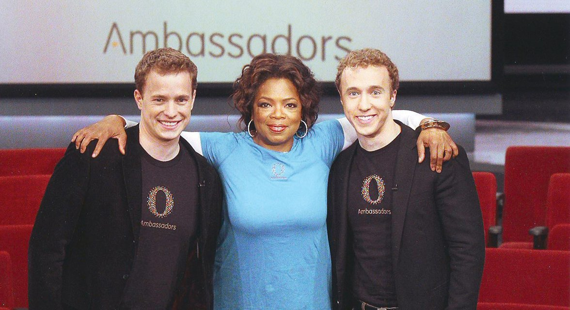Craig and Marc Kielburger with Oprah Winfrey