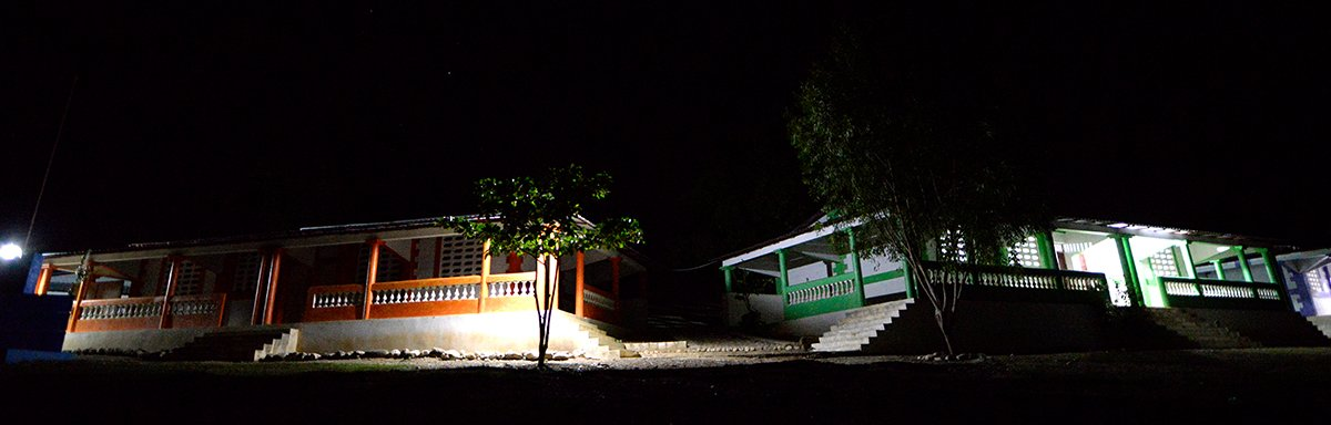 Light from solar technology lights up buildings in Haiti.