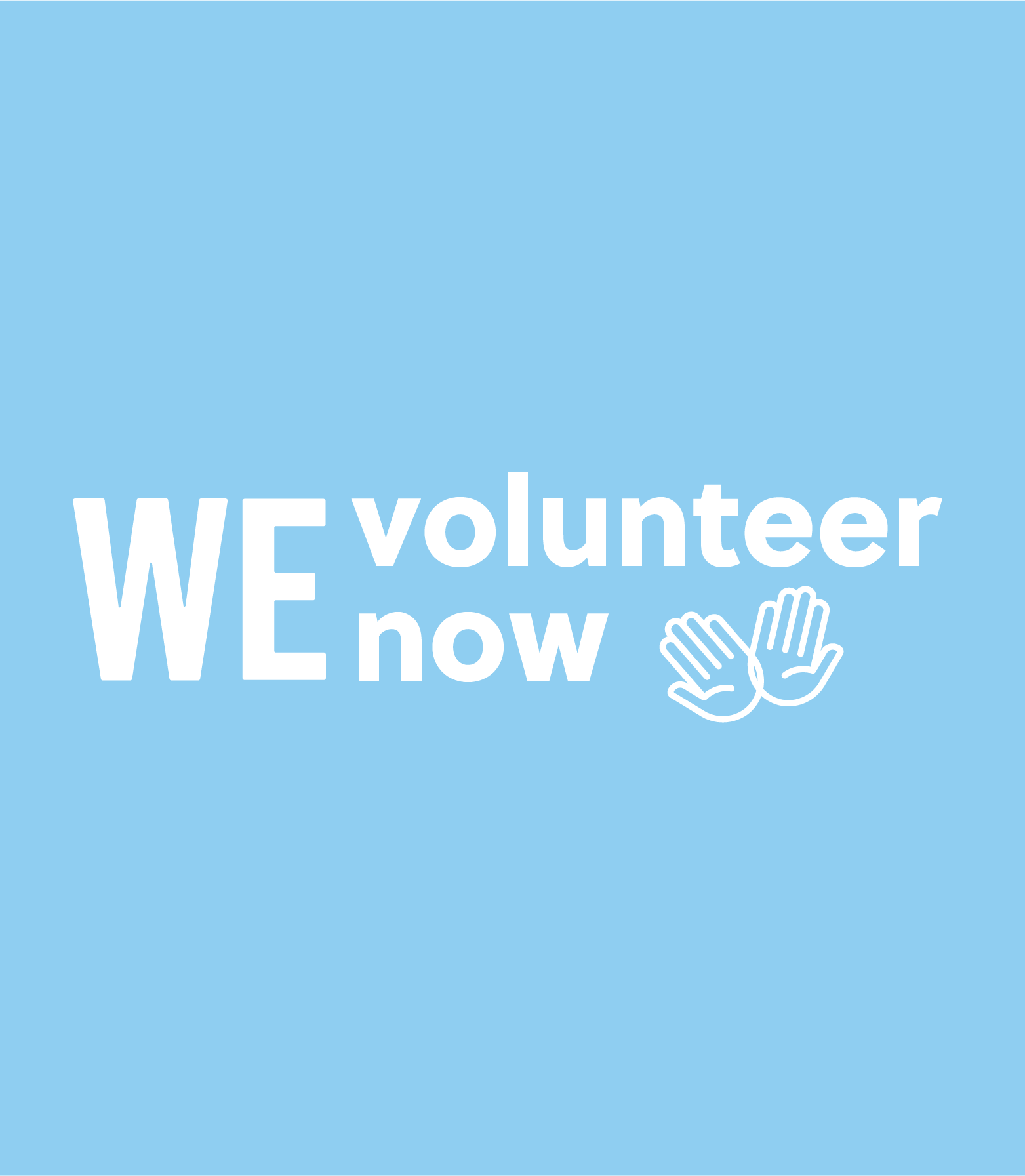 WE Volunteer now logo with hands on blue background