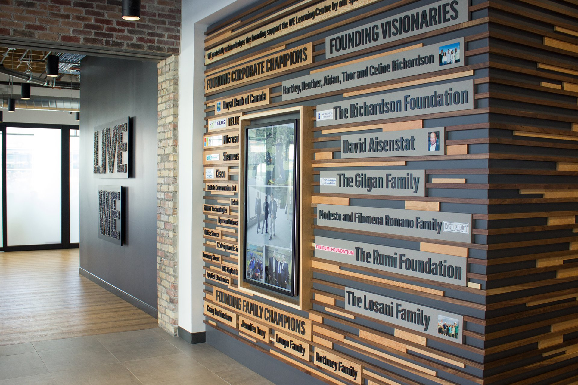 The Founder's Wall at the WE Global Learning Center