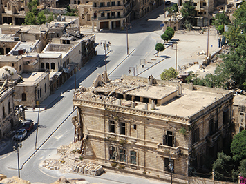 A building damaged by conflict