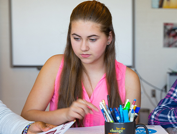 A student working in a classroom