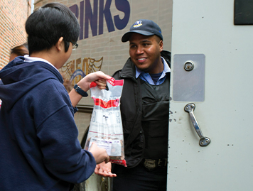 Two volunteers at a food bank