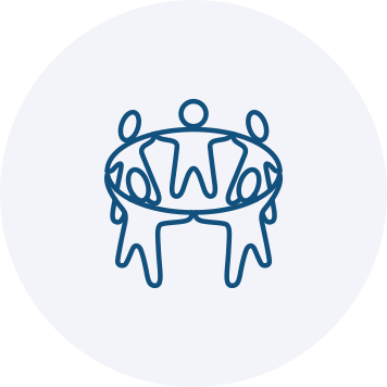 People holding hands in a circle icon