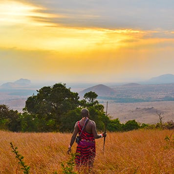 Maasai Warrior watching sunset in grassy field in Kenya