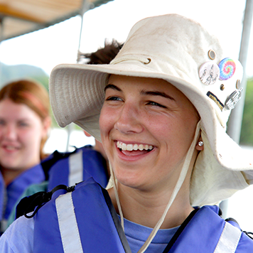 Smiling travellers on a boat