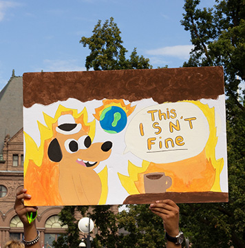 A sign at the climate march.