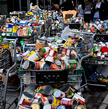 Carts filled with canned goods