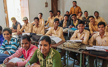 Students in a classroom in Verdara, India.