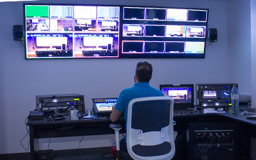 The audio and visual control room for the Hartley T. Richardson Empatheatre in the WE Global Learning Center