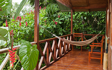 Balcony of Minga Lodge cabin in Ecuador