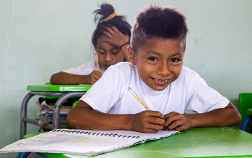 Local students in a class in Ecuador