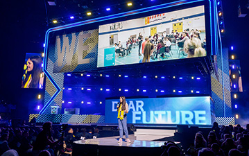 Maddison on the WE Day stage.