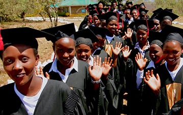 Left: Students graduating at Kisaruni. Right: Milcah Chepkirui.