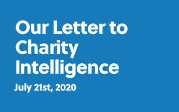 Our letter to Charity Intelligence, July 21st, 2020