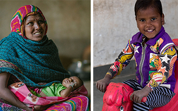 Left: A woman holds her baby. Right: A child plays at the anganwadi.