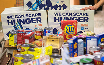 Donated items of food.