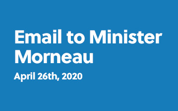 Email to Minister Morneau - April 26th, 2020