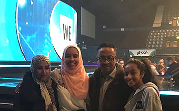 Sabrin with her family at WE Day.