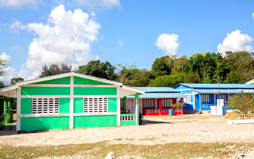 Colorful classrooms built by WE in Haiti.