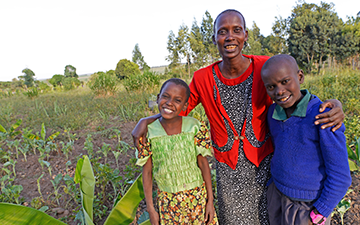 A Kipsingol farmer with her children.