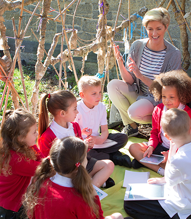 A teacher and students taking part in an outdoor classroom