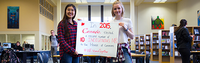 Students promoting WE Stand Together campaign