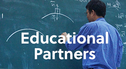 Educational Partners; educator teaching on blackboard