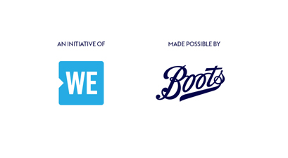 An initiative of WE, Made possible by Boots