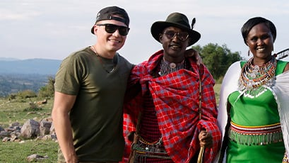 Shawn Hook with community members in Kenya