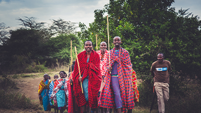 Local community members on a walk in Kenya