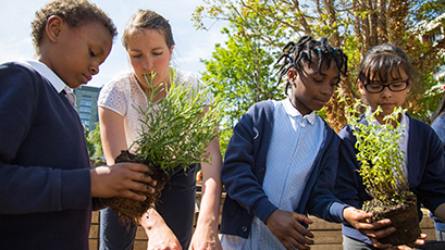 A teacher and students planting in a garden