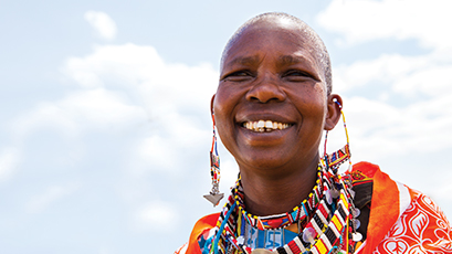 Local community member in traditional clothing in Kenya